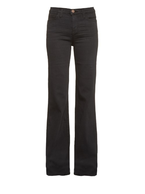 The Girl Crush High Rise Flared Jeans - style: flares; length: standard; pattern: plain; waist: high rise; predominant colour: black; occasions: casual, creative work; fibres: cotton - mix; texture group: denim; pattern type: fabric; season: a/w 2015; wardrobe: basic