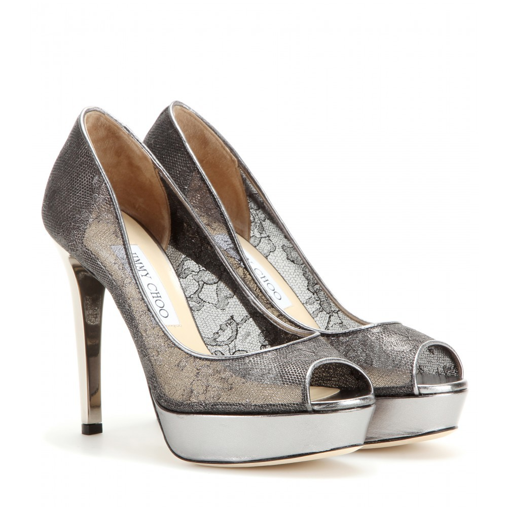 Dahlia Lace Pumps - secondary colour: silver; occasions: evening, occasion; material: fabric; heel: stiletto; toe: open toe/peeptoe; style: courts; finish: metallic; pattern: patterned/print; heel height: very high; embellishment: lace; shoe detail: platform; predominant colour: pewter; season: a/w 2015; wardrobe: event
