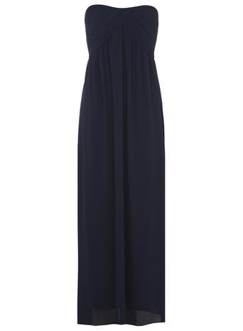 Womens **Alice & You Black Ruched Bandeau Maxi Dress Blue - style: empire line; neckline: strapless (straight/sweetheart); fit: empire; pattern: plain; sleeve style: strapless; length: ankle length; bust detail: subtle bust detail; predominant colour: navy; occasions: evening, occasion; fibres: polyester/polyamide - 100%; hip detail: subtle/flattering hip detail; sleeve length: sleeveless; texture group: sheer fabrics/chiffon/organza etc.; pattern type: fabric; season: a/w 2015; wardrobe: event