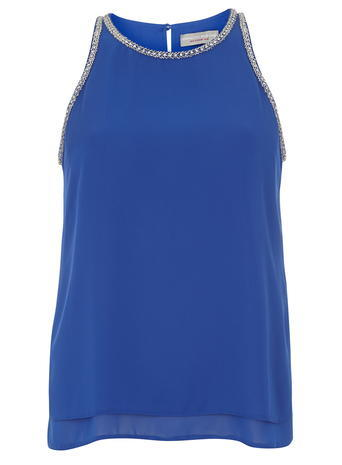 Womens Petite Blue Embellished Top Cobalt - pattern: plain; sleeve style: sleeveless; predominant colour: diva blue; occasions: evening, creative work; length: standard; style: top; fibres: polyester/polyamide - 100%; fit: straight cut; neckline: crew; back detail: keyhole/peephole detail at back; sleeve length: sleeveless; texture group: crepes; pattern type: fabric; embellishment: chain/metal; season: a/w 2015
