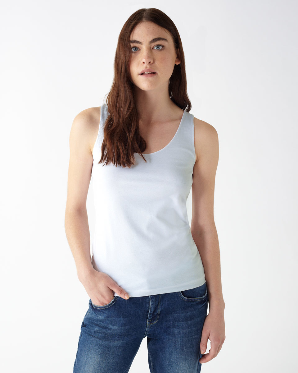 Double Front Vest Top - neckline: round neck; pattern: plain; sleeve style: sleeveless; style: vest top; predominant colour: white; occasions: casual; length: standard; fit: body skimming; sleeve length: sleeveless; texture group: cotton feel fabrics; pattern type: fabric; season: a/w 2015; wardrobe: basic