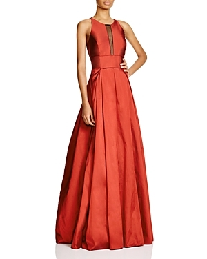 Sleeveless Illusion Neck Gown 100% Bloomingdale's Exclusive - pattern: plain; sleeve style: sleeveless; style: maxi dress; predominant colour: bright orange; length: floor length; fit: fitted at waist & bust; fibres: silk - 100%; occasions: occasion; neckline: crew; hip detail: slits at hip; sleeve length: sleeveless; texture group: structured shiny - satin/tafetta/silk etc.; pattern type: fabric; season: a/w 2015