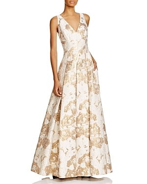 Sleeveless V Neck Gown - style: ballgown; neckline: low v-neck; sleeve style: sleeveless; predominant colour: ivory/cream; length: floor length; fit: fitted at waist & bust; fibres: silk - mix; occasions: occasion; hip detail: adds bulk at the hips; sleeve length: sleeveless; pattern type: fabric; pattern size: big & busy; pattern: florals; texture group: woven light midweight; season: a/w 2015; wardrobe: event
