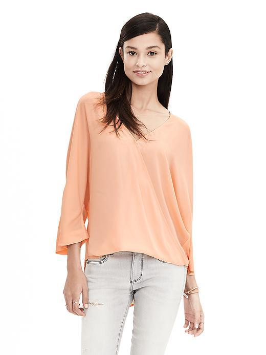 Dolman Faux Wrap Blouse Bellini - neckline: v-neck; sleeve style: dolman/batwing; pattern: plain; style: t-shirt; predominant colour: nude; occasions: casual, creative work; length: standard; fibres: polyester/polyamide - stretch; fit: loose; sleeve length: 3/4 length; pattern type: fabric; texture group: jersey - stretchy/drapey; season: a/w 2015; wardrobe: basic