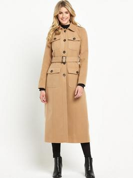 70 S Maxi Coat - pattern: plain; length: calf length; predominant colour: camel; occasions: casual, creative work; fit: straight cut (boxy); collar: shirt collar/peter pan/zip with opening; waist detail: belted waist/tie at waist/drawstring; sleeve length: long sleeve; sleeve style: standard; collar break: high; pattern type: fabric; texture group: woven bulky/heavy; style: single breasted military coat; season: a/w 2015; wardrobe: basic
