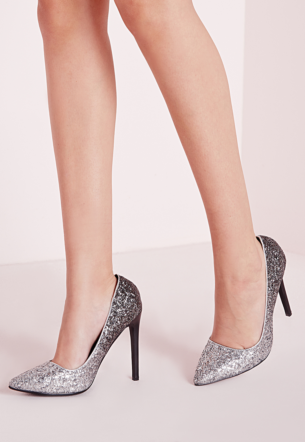 Ombre Glitter Court Shoes Silver, Grey - predominant colour: silver; secondary colour: black; occasions: evening, occasion; material: faux leather; embellishment: glitter; heel: stiletto; toe: pointed toe; style: courts; finish: metallic; pattern: two-tone; heel height: very high; season: a/w 2015; wardrobe: event