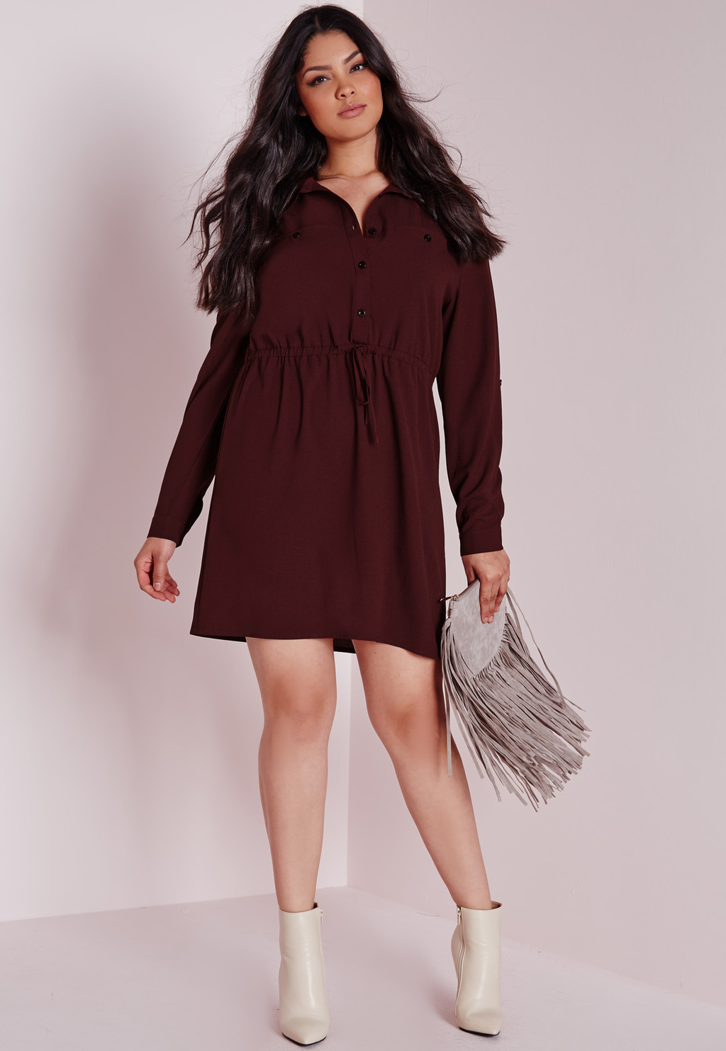 Plus Size Drawstring Waist Shirt Dress Burgundy, Burgundy - style: shirt; length: mid thigh; neckline: shirt collar/peter pan/zip with opening; fit: fitted at waist; pattern: plain; waist detail: elasticated waist; predominant colour: burgundy; occasions: evening; fibres: polyester/polyamide - stretch; sleeve length: long sleeve; sleeve style: standard; texture group: crepes; pattern type: fabric; season: a/w 2015; wardrobe: event