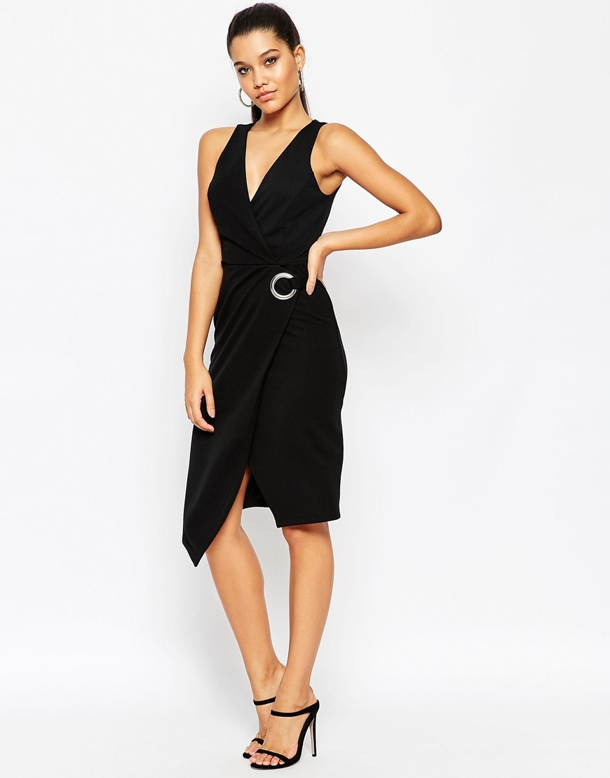 Wrap Dress With Eyelet Detail Black - style: faux wrap/wrap; neckline: low v-neck; sleeve style: standard vest straps/shoulder straps; pattern: plain; predominant colour: black; occasions: evening, occasion; length: on the knee; fit: body skimming; fibres: polyester/polyamide - 100%; sleeve length: sleeveless; texture group: jersey - clingy; pattern type: fabric; embellishment: chain/metal; season: a/w 2015; wardrobe: event; embellishment location: waist