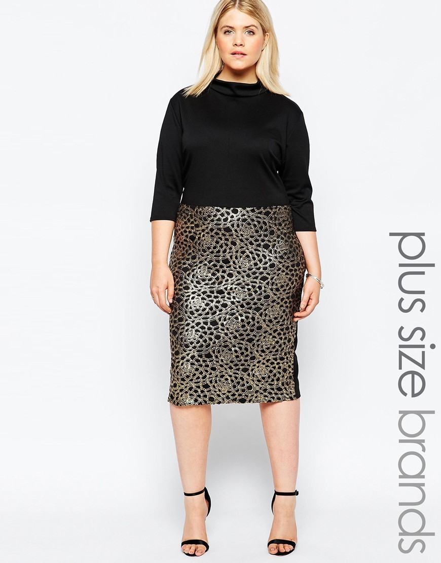 Plus Size Midi Dress With Metallic Embroidered Skirt Black/Gold - style: shift; length: below the knee; neckline: high neck; secondary colour: gold; predominant colour: black; occasions: evening; fit: body skimming; fibres: polyester/polyamide - stretch; hip detail: contrast fabric/print detail at hip; sleeve length: 3/4 length; sleeve style: standard; texture group: jersey - clingy; pattern type: fabric; pattern size: standard; pattern: patterned/print; embellishment: embroidered; season: a/w 2015; wardrobe: event