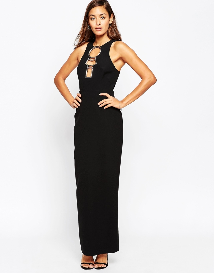 Hardware Open Back Maxi Dress Black - fit: tailored/fitted; pattern: plain; sleeve style: sleeveless; style: maxi dress; back detail: back revealing; secondary colour: gold; predominant colour: black; occasions: evening; length: floor length; fibres: polyester/polyamide - 100%; neckline: crew; shoulder detail: cut out shoulder; sleeve length: sleeveless; texture group: crepes; pattern type: fabric; embellishment: chain/metal; season: a/w 2015; wardrobe: event; embellishment location: bust