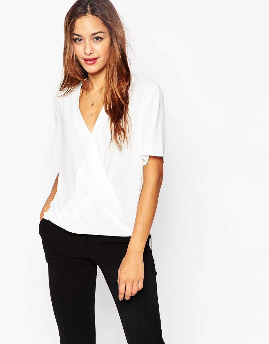 Short Sleeve Drape Wrap Blouse Ivory - neckline: v-neck; pattern: plain; style: wrap/faux wrap; predominant colour: white; occasions: casual, creative work; length: standard; fibres: polyester/polyamide - 100%; fit: straight cut; sleeve length: short sleeve; sleeve style: standard; texture group: crepes; pattern type: fabric; season: a/w 2015