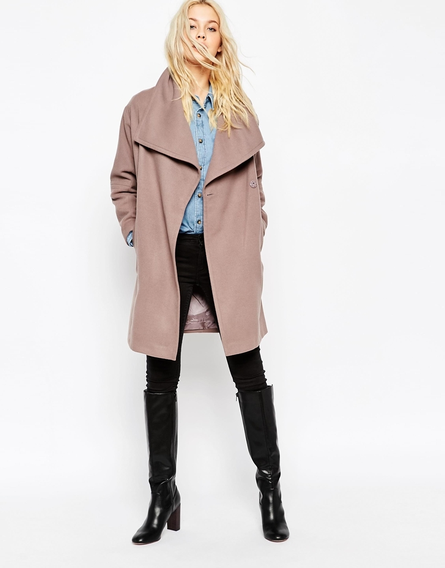 Oversized Funnel Neck Coat Mink - pattern: plain; collar: shawl/waterfall; fit: loose; length: mid thigh; occasions: casual, creative work; style: cocoon; fibres: wool - mix; sleeve length: long sleeve; sleeve style: standard; collar break: low/open; pattern type: fabric; texture group: other - bulky/heavy; predominant colour: dusky pink; season: a/w 2015; trends: pink aw 15