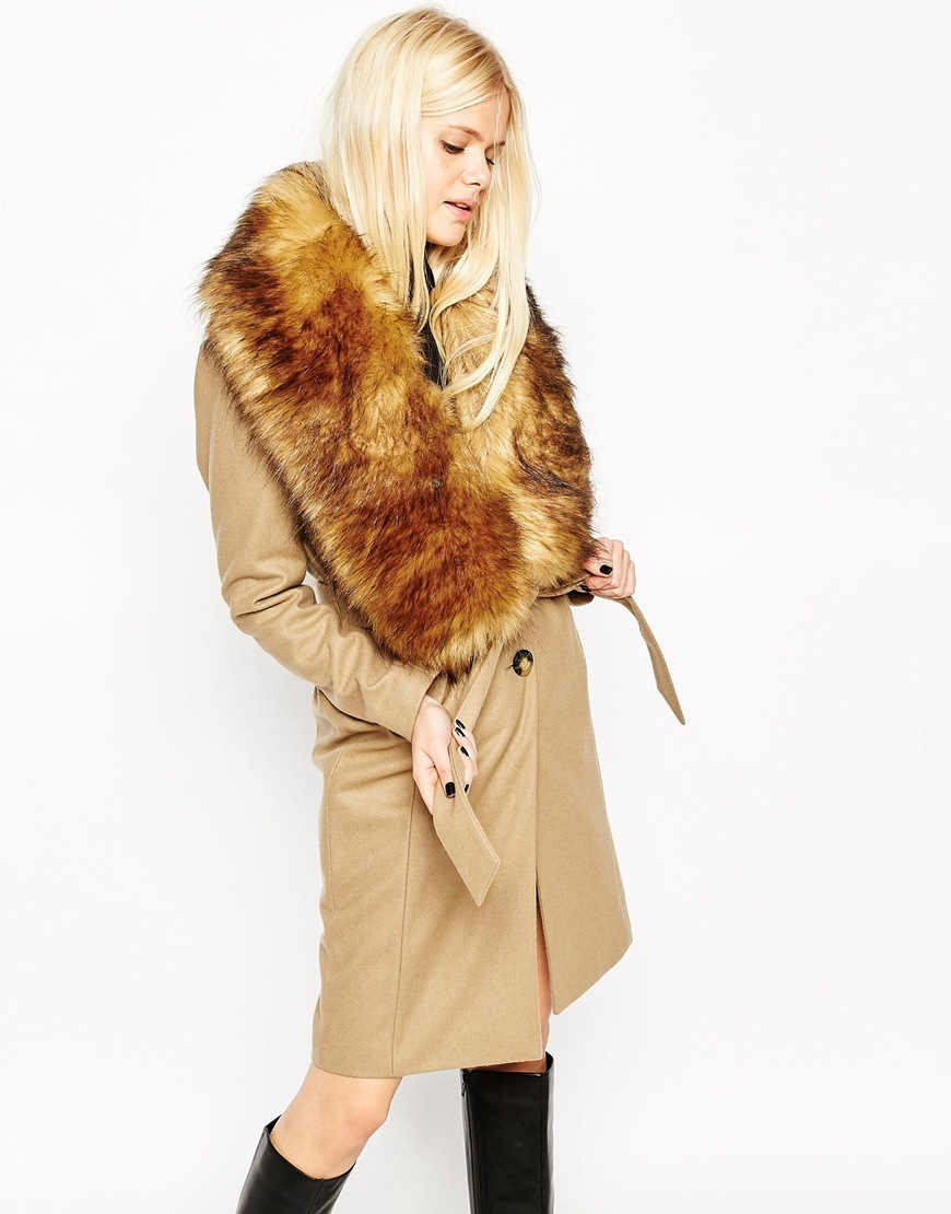 Coat With Faux Fur Stole Camel - pattern: plain; length: on the knee; style: wrap around; predominant colour: camel; occasions: casual, creative work; fit: tailored/fitted; fibres: wool - mix; waist detail: belted waist/tie at waist/drawstring; sleeve length: long sleeve; sleeve style: standard; collar: fur; collar break: medium; pattern type: fabric; texture group: woven bulky/heavy; embellishment: fur; season: a/w 2015; wardrobe: highlight