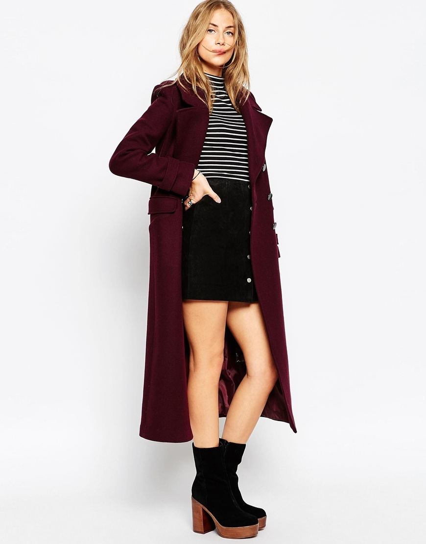 Maxi Military Coat With Contrast Buttons Wine - pattern: plain; length: below the bottom; style: double breasted military coat; collar: standard lapel/rever collar; predominant colour: burgundy; occasions: casual, creative work; fit: tailored/fitted; fibres: wool - mix; sleeve length: long sleeve; sleeve style: standard; collar break: medium; pattern type: fabric; texture group: woven bulky/heavy; season: a/w 2015; wardrobe: highlight