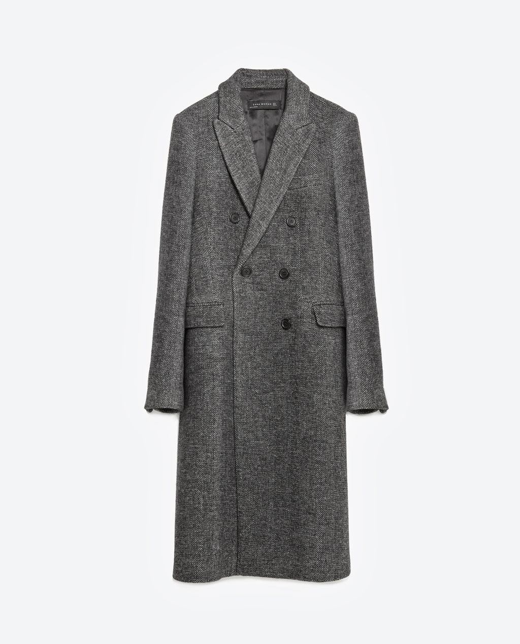 Masculine Herringbone Coat - pattern: plain; style: double breasted; length: on the knee; collar: standard lapel/rever collar; predominant colour: charcoal; occasions: work, creative work; fit: straight cut (boxy); fibres: acrylic - mix; sleeve length: long sleeve; sleeve style: standard; collar break: medium; pattern type: fabric; texture group: woven bulky/heavy; season: a/w 2015; wardrobe: investment