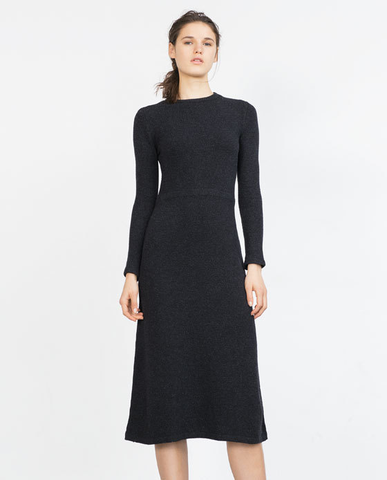 Long Minimal Dress - style: shift; length: below the knee; pattern: plain; predominant colour: black; occasions: casual, work, creative work; fit: soft a-line; fibres: polyester/polyamide - stretch; neckline: crew; hip detail: soft pleats at hip/draping at hip/flared at hip; sleeve length: long sleeve; sleeve style: standard; pattern type: fabric; texture group: jersey - stretchy/drapey; season: a/w 2015; wardrobe: basic
