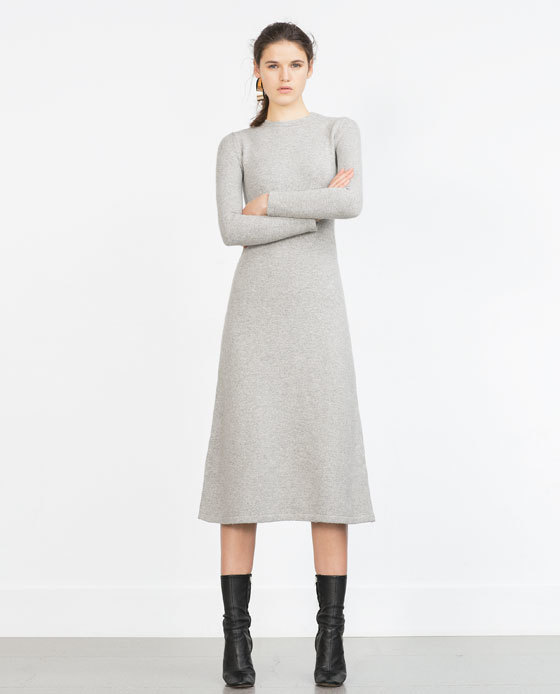 Long Minimal Dress - style: jumper dress; length: below the knee; fit: loose; pattern: plain; predominant colour: light grey; fibres: polyester/polyamide - stretch; neckline: crew; hip detail: soft pleats at hip/draping at hip/flared at hip; sleeve length: long sleeve; sleeve style: standard; pattern type: fabric; texture group: jersey - stretchy/drapey; occasions: creative work; season: a/w 2015; wardrobe: investment