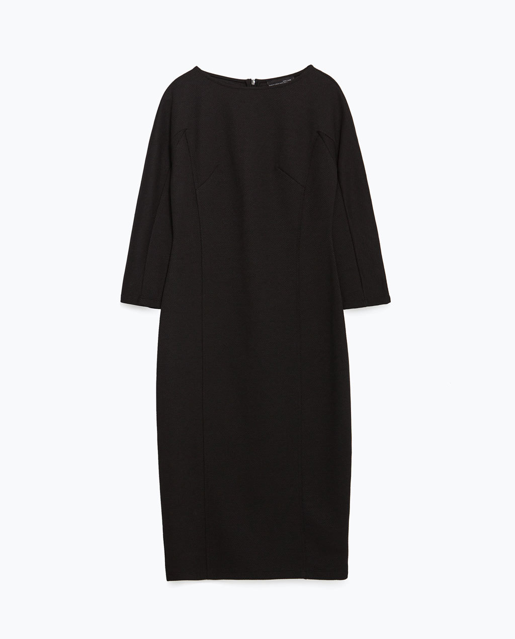 Long Tube Dress - style: shift; neckline: round neck; pattern: plain; predominant colour: black; occasions: evening, work; length: just above the knee; fit: body skimming; fibres: polyester/polyamide - 100%; sleeve length: 3/4 length; sleeve style: standard; pattern type: fabric; texture group: jersey - stretchy/drapey; season: a/w 2015; wardrobe: investment