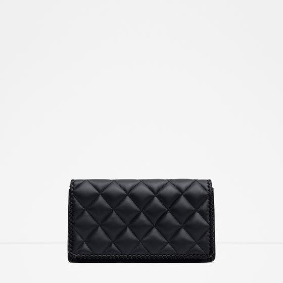 Padded Clutch Bag - predominant colour: black; occasions: evening, occasion; type of pattern: light; style: clutch; length: hand carry; size: standard; material: faux leather; embellishment: quilted; finish: plain; pattern: patterned/print; season: a/w 2015; wardrobe: event