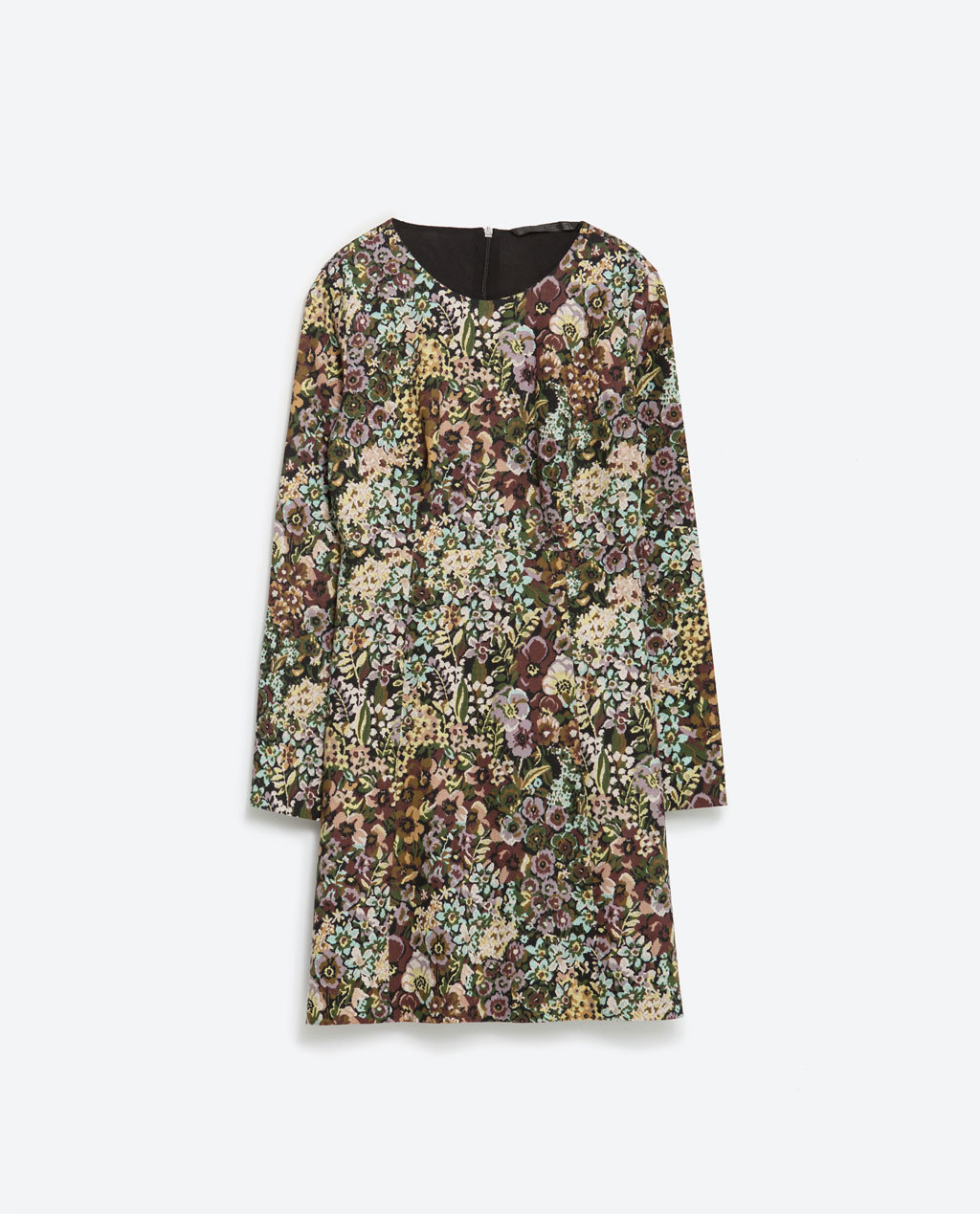 Printed Dress - style: shift; length: mid thigh; neckline: round neck; predominant colour: camel; secondary colour: taupe; occasions: casual, creative work; fit: soft a-line; fibres: cotton - stretch; sleeve length: long sleeve; sleeve style: standard; texture group: crepes; pattern type: fabric; pattern: patterned/print; season: a/w 2015; wardrobe: highlight