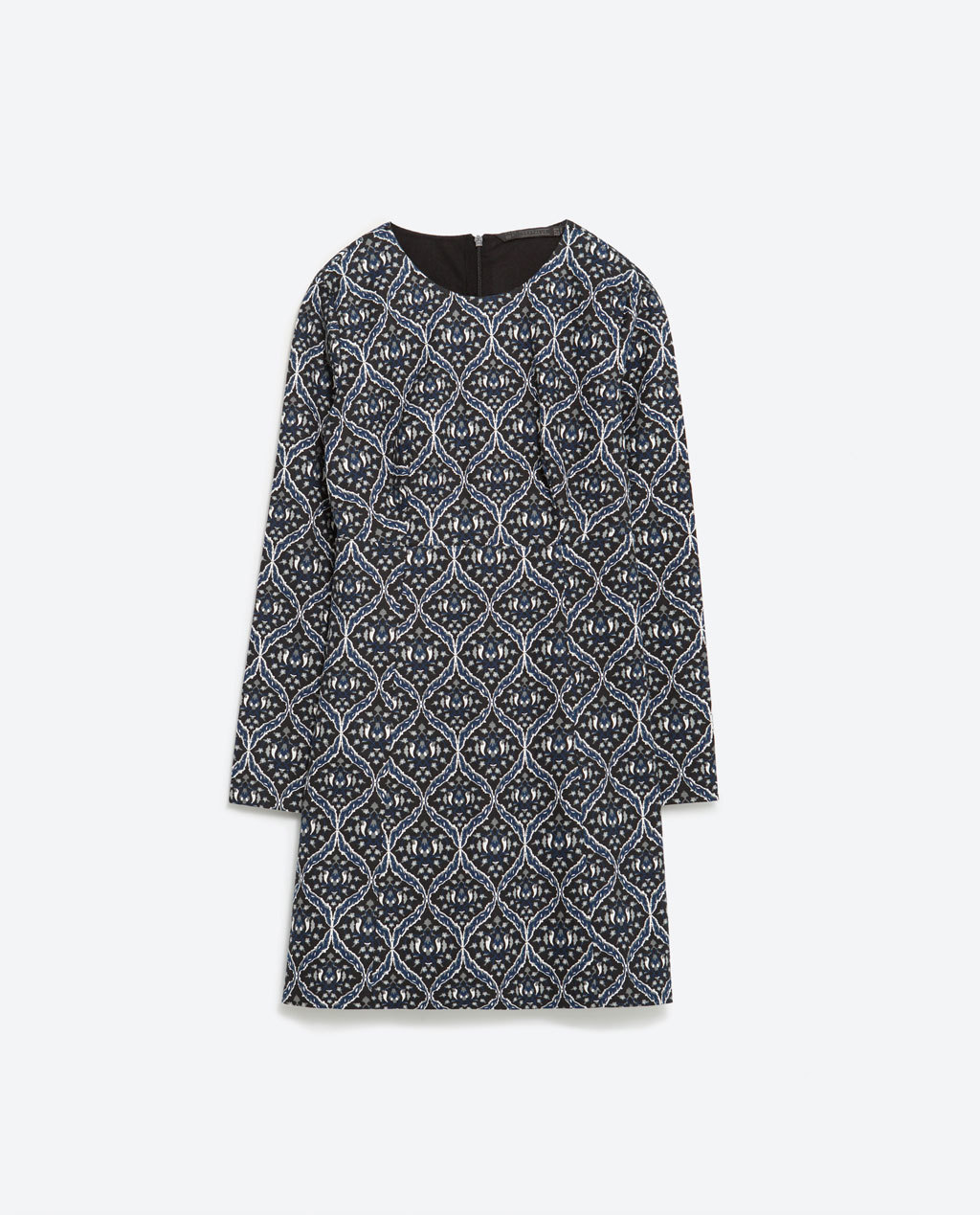 Printed Dress - style: shift; length: mid thigh; neckline: round neck; secondary colour: ivory/cream; predominant colour: black; occasions: casual, creative work; fit: soft a-line; fibres: cotton - stretch; sleeve length: long sleeve; sleeve style: standard; texture group: crepes; pattern type: fabric; pattern size: big & busy; pattern: patterned/print; season: a/w 2015; wardrobe: highlight