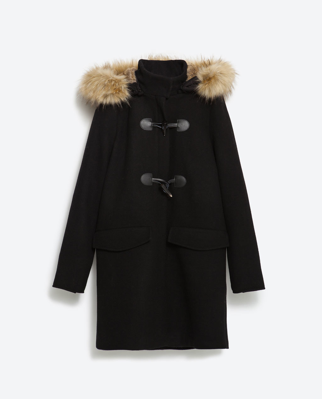 Duffle Coat With Faux Fur Hood - pattern: plain; collar: funnel; style: duffle coat; length: mid thigh; secondary colour: stone; predominant colour: black; occasions: casual, creative work; fit: straight cut (boxy); fibres: wool - mix; sleeve length: long sleeve; sleeve style: standard; collar break: high; pattern type: fabric; texture group: woven bulky/heavy; embellishment: fur; season: a/w 2015; wardrobe: highlight; embellishment location: shoulder