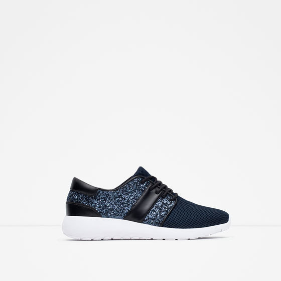 Glitter Sneakers - predominant colour: navy; secondary colour: black; occasions: casual; material: fabric; heel height: flat; embellishment: glitter; toe: round toe; style: trainers; finish: plain; pattern: colourblock; shoe detail: moulded soul; season: a/w 2015; wardrobe: highlight