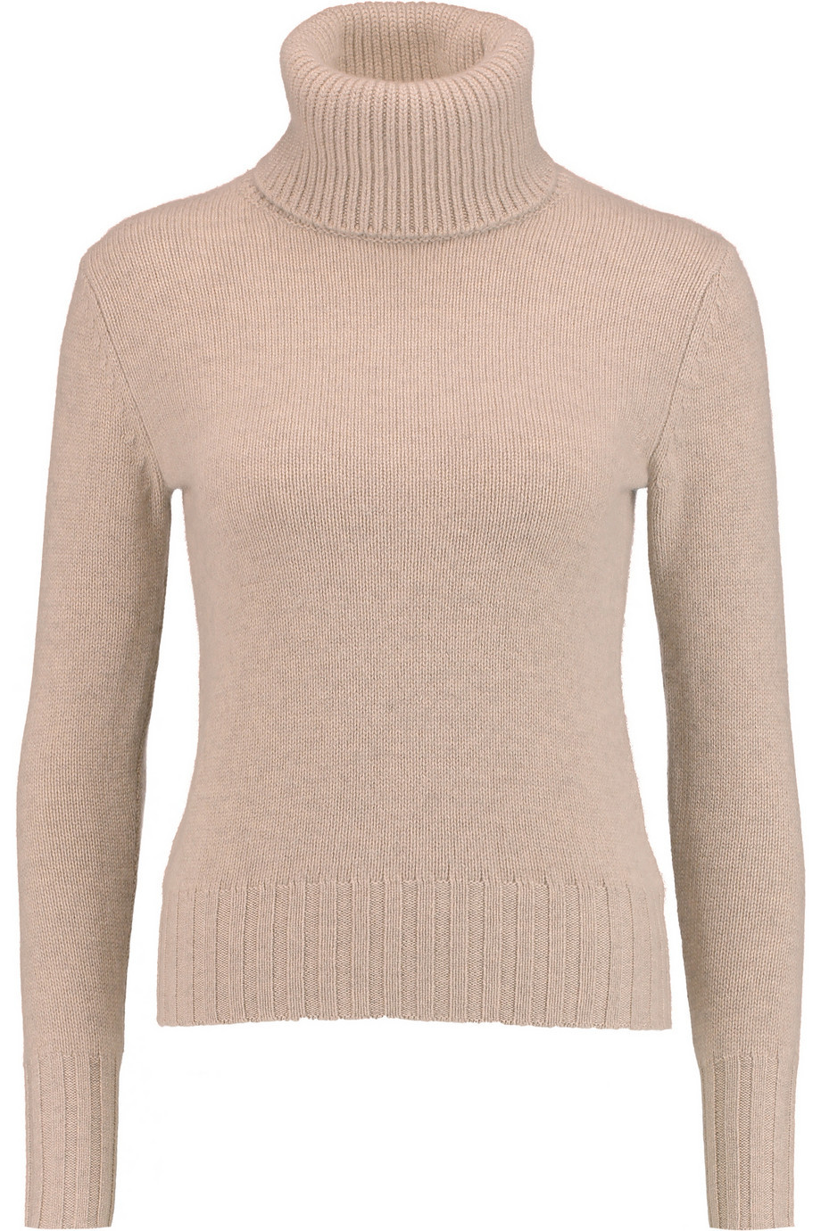 Cashmere Turtleneck Sweater Sand - pattern: plain; neckline: roll neck; style: standard; predominant colour: nude; occasions: casual, work, creative work; length: standard; fit: slim fit; fibres: cashmere - 100%; sleeve length: long sleeve; sleeve style: standard; texture group: knits/crochet; pattern type: knitted - fine stitch; season: a/w 2015; wardrobe: investment