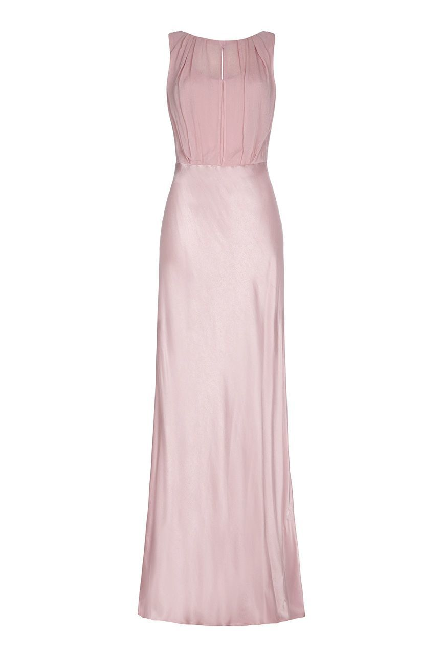 Claudia Dress, Pink - pattern: plain; sleeve style: sleeveless; style: maxi dress; hip detail: draws attention to hips; bust detail: subtle bust detail; predominant colour: blush; occasions: evening; length: floor length; fit: body skimming; fibres: viscose/rayon - 100%; neckline: crew; sleeve length: sleeveless; texture group: sheer fabrics/chiffon/organza etc.; pattern type: fabric; season: a/w 2015; wardrobe: event