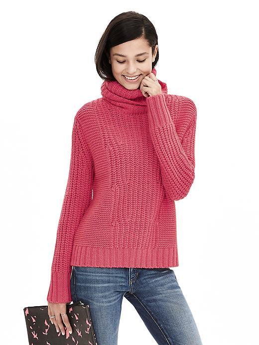Mixed Stitch Turtleneck Sweater Pink Strawberry - pattern: plain; neckline: roll neck; style: standard; predominant colour: pink; occasions: casual, creative work; length: standard; fibres: wool - mix; fit: standard fit; sleeve length: long sleeve; sleeve style: standard; texture group: knits/crochet; pattern type: knitted - other; season: a/w 2015; wardrobe: highlight