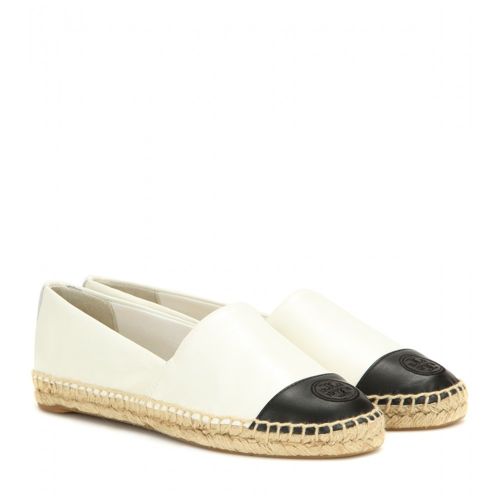 Leather Espadrilles - secondary colour: white; predominant colour: black; occasions: casual, holiday; material: leather; heel height: flat; toe: round toe; finish: plain; pattern: colourblock; style: espadrilles; shoe detail: moulded soul; season: a/w 2015; wardrobe: highlight
