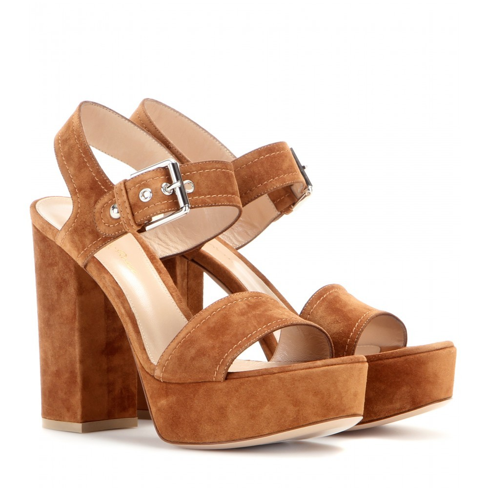 Gina Suede Sandals - predominant colour: tan; material: suede; heel: block; toe: open toe/peeptoe; style: strappy; finish: plain; pattern: plain; heel height: very high; occasions: creative work; shoe detail: platform; season: a/w 2015