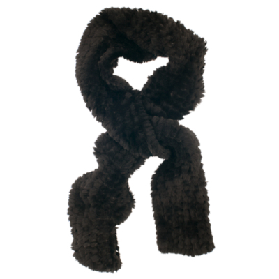 Faux Fur Knitted Scarf - predominant colour: black; occasions: casual; type of pattern: standard; style: regular; size: standard; material: knits; pattern: plain; season: a/w 2015; wardrobe: basic