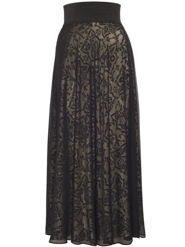 Black/Gold Devoree Lined Mesh Skirt - fit: loose/voluminous; waist: high rise; secondary colour: nude; predominant colour: black; length: floor length; style: maxi skirt; fibres: polyester/polyamide - 100%; occasions: occasion; texture group: lace; pattern type: fabric; pattern: patterned/print; season: a/w 2015; trends: romantic goth; wardrobe: event