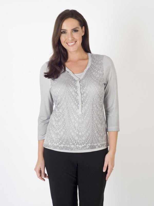 Rabe Grey Lace Print 2 In 1 Jersey Top - neckline: v-neck; predominant colour: light grey; occasions: casual, creative work; length: standard; style: top; fibres: polyester/polyamide - stretch; fit: straight cut; sleeve length: 3/4 length; sleeve style: standard; texture group: lace; pattern type: fabric; pattern: patterned/print; season: a/w 2015; wardrobe: highlight; embellishment location: bust