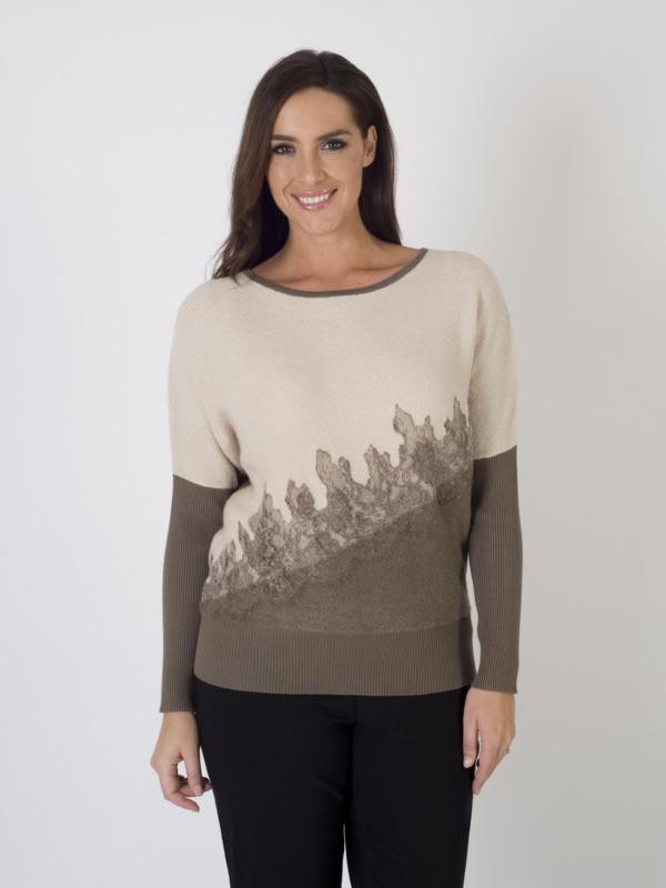 Beige Asymmetrical Design Knit Jumper - neckline: round neck; sleeve style: dolman/batwing; style: standard; predominant colour: taupe; secondary colour: stone; occasions: casual, creative work; length: standard; fibres: cotton - mix; fit: standard fit; sleeve length: long sleeve; texture group: knits/crochet; pattern type: knitted - fine stitch; pattern size: standard; pattern: colourblock; embellishment: lace; season: a/w 2015
