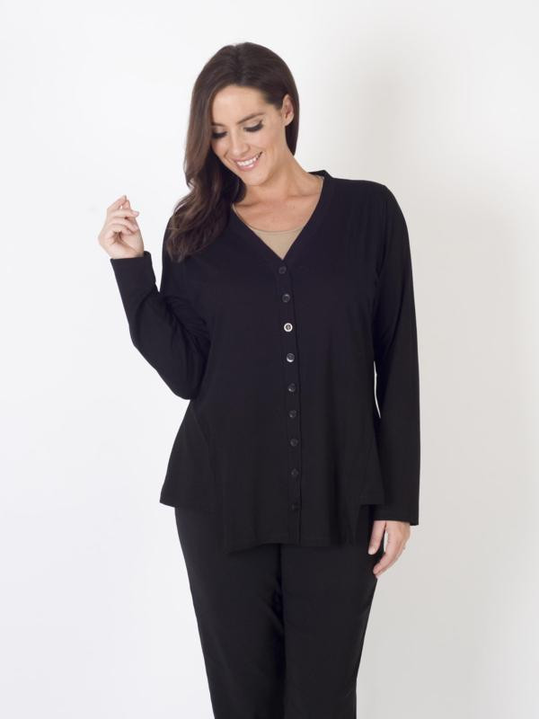 Black Jersey Cardigan - neckline: v-neck; pattern: plain; predominant colour: black; occasions: casual, creative work; length: standard; style: standard; fibres: cotton - mix; fit: standard fit; waist detail: peplum detail at waist; sleeve length: long sleeve; sleeve style: standard; pattern type: fabric; texture group: jersey - stretchy/drapey; season: a/w 2015