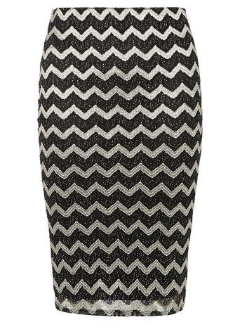 Womens Petite Zigzag Shimmer Skirt Black - style: pencil; fit: tight; waist: mid/regular rise; secondary colour: silver; predominant colour: black; occasions: evening; length: just above the knee; texture group: jersey - clingy; pattern type: fabric; pattern: patterned/print; fibres: nylon - stretch; multicoloured: multicoloured; season: a/w 2015