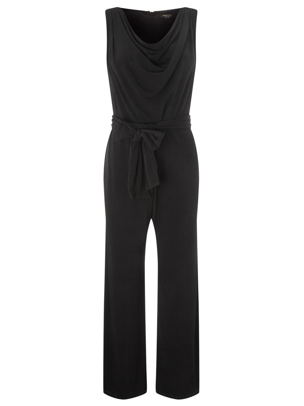 Cowl Neck Jumpsuit - length: standard; neckline: cowl/draped neck; pattern: plain; sleeve style: sleeveless; waist detail: belted waist/tie at waist/drawstring; predominant colour: black; occasions: evening; fit: body skimming; fibres: polyester/polyamide - stretch; sleeve length: sleeveless; style: jumpsuit; pattern type: fabric; texture group: jersey - stretchy/drapey; season: a/w 2015