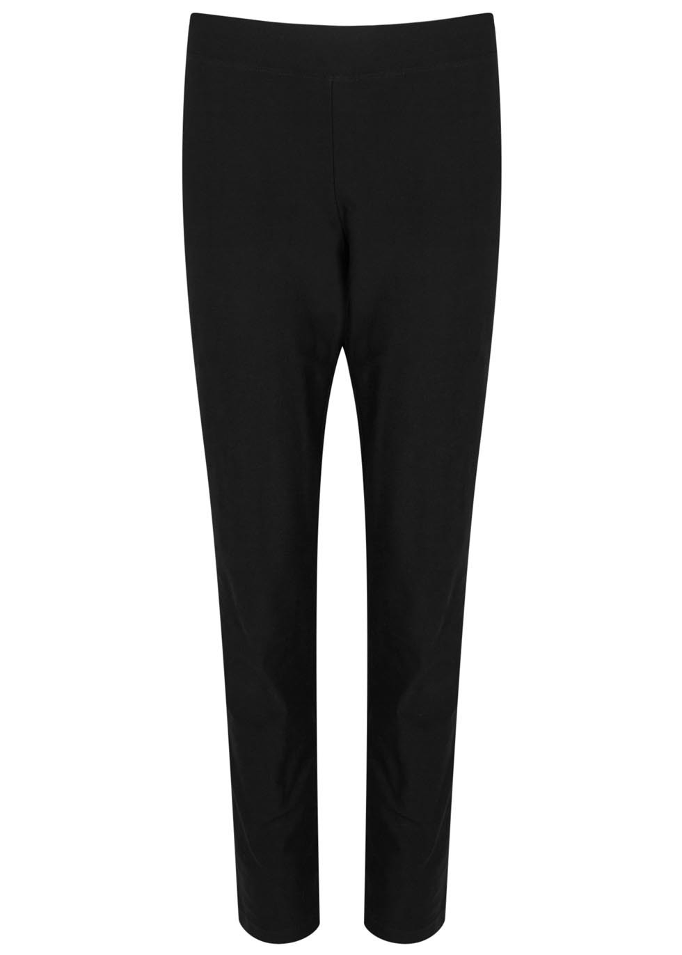 Black Slim Leg Crepe Trousers - length: standard; pattern: plain; waist: mid/regular rise; predominant colour: black; occasions: work, creative work; fibres: viscose/rayon - stretch; texture group: crepes; fit: slim leg; pattern type: fabric; style: standard; season: a/w 2015; wardrobe: basic