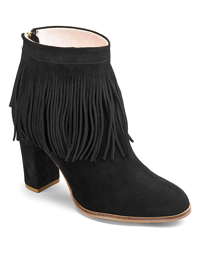 Sole Diva Suede Ankle Boots E Fit - predominant colour: black; occasions: casual, creative work; material: suede; heel height: high; embellishment: tassels; heel: block; toe: round toe; boot length: ankle boot; style: standard; finish: plain; pattern: plain; season: a/w 2015; wardrobe: highlight