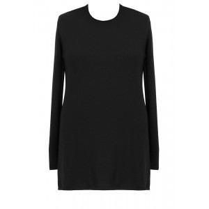 Cotton Cashmere Tunic Dress - style: jumper dress; length: mid thigh; pattern: plain; predominant colour: black; occasions: casual; fit: body skimming; neckline: crew; fibres: cashmere - 100%; sleeve length: long sleeve; sleeve style: standard; pattern type: fabric; texture group: jersey - stretchy/drapey; season: a/w 2015; wardrobe: basic