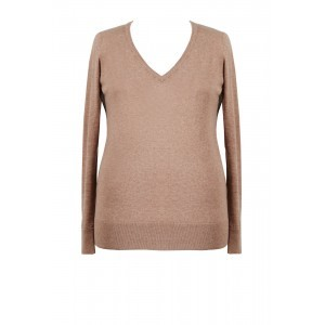 Cotton Cashmere V Neck Jumper - neckline: low v-neck; pattern: plain; style: standard; predominant colour: camel; occasions: casual, work, creative work; length: standard; fit: standard fit; sleeve length: long sleeve; sleeve style: standard; texture group: knits/crochet; pattern type: knitted - fine stitch; fibres: cashmere - stretch; season: a/w 2015; wardrobe: investment