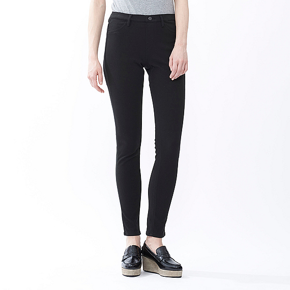 Women Leggings Trousers (Size Xxl) Black - length: standard; pattern: plain; style: leggings; waist detail: elasticated waist; waist: mid/regular rise; predominant colour: black; occasions: casual, creative work; fibres: cotton - stretch; texture group: jersey - clingy; fit: straight leg; pattern type: fabric; season: a/w 2015; wardrobe: basic