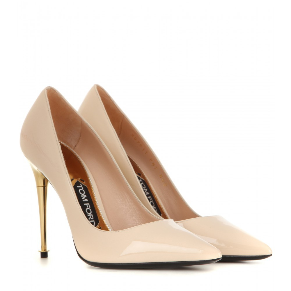 Patent Leather Pumps - predominant colour: nude; occasions: evening, occasion; material: leather; heel height: high; heel: stiletto; toe: pointed toe; style: courts; finish: patent; pattern: plain; season: a/w 2015; wardrobe: event