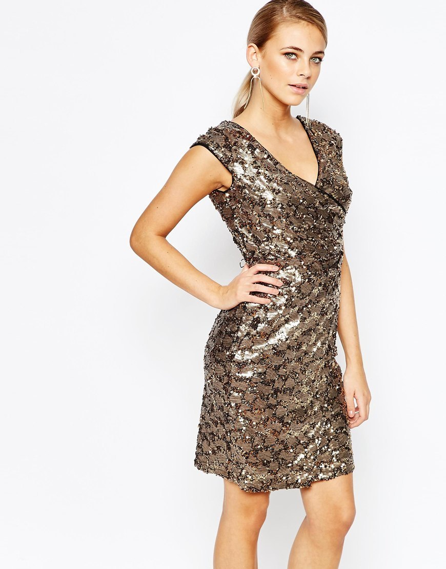 Premium Sequin Dress Gold - style: shift; length: mid thigh; neckline: low v-neck; sleeve style: capped; predominant colour: gold; occasions: evening, occasion; fit: body skimming; fibres: polyester/polyamide - 100%; sleeve length: short sleeve; pattern type: fabric; pattern size: light/subtle; pattern: patterned/print; texture group: other - light to midweight; embellishment: sequins; secondary colour: pewter; season: a/w 2015; wardrobe: event