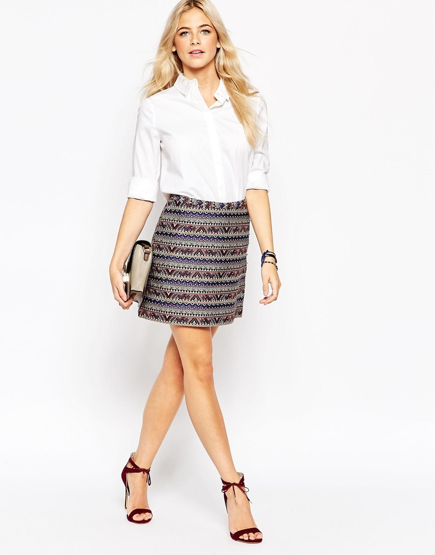 Jacquard Mini Skirt Multi - length: mid thigh; fit: loose/voluminous; waist: mid/regular rise; predominant colour: purple; secondary colour: mid grey; occasions: casual, evening, creative work; style: a-line; fibres: polyester/polyamide - mix; waist detail: feature waist detail; pattern type: fabric; texture group: brocade/jacquard; pattern size: standard (bottom); pattern: horizontal stripes (bottom); multicoloured: multicoloured; season: a/w 2015; wardrobe: highlight
