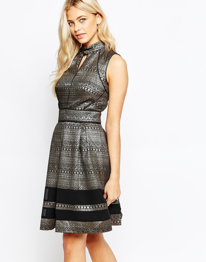 Metallic Pattern Skater Dress Multi Black - sleeve style: sleeveless; secondary colour: black; occasions: evening, occasion; length: just above the knee; fit: fitted at waist & bust; style: fit & flare; neckline: peep hole neckline; fibres: polyester/polyamide - stretch; sleeve length: sleeveless; pattern type: fabric; pattern size: light/subtle; pattern: patterned/print; texture group: woven light midweight; predominant colour: pewter; season: a/w 2015; wardrobe: event
