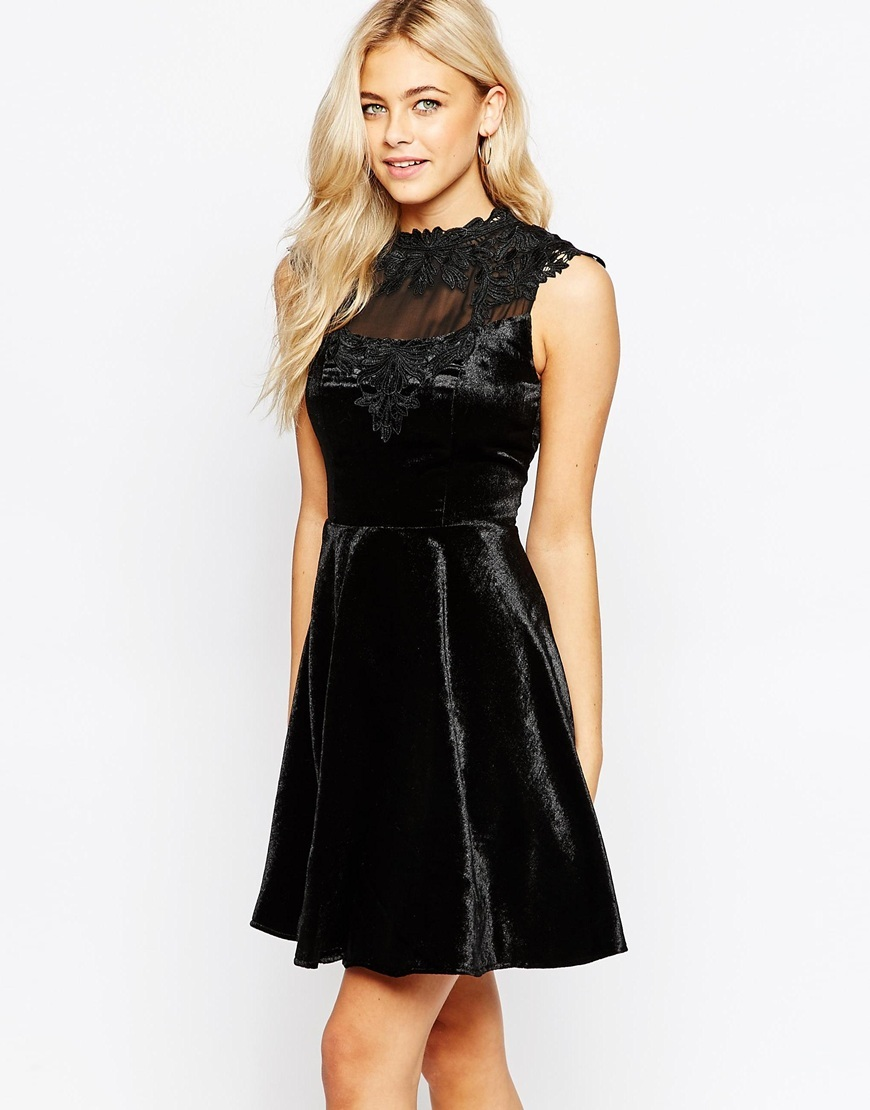 Velvet Lace Trim Skater Dress Black - length: mid thigh; pattern: plain; sleeve style: sleeveless; neckline: high neck; predominant colour: black; occasions: evening; fit: fitted at waist & bust; style: fit & flare; fibres: polyester/polyamide - 100%; hip detail: subtle/flattering hip detail; sleeve length: sleeveless; pattern type: fabric; texture group: velvet/fabrics with pile; embellishment: applique; shoulder detail: sheer at shoulder; season: a/w 2015; wardrobe: event; embellishment location: bust, shoulder