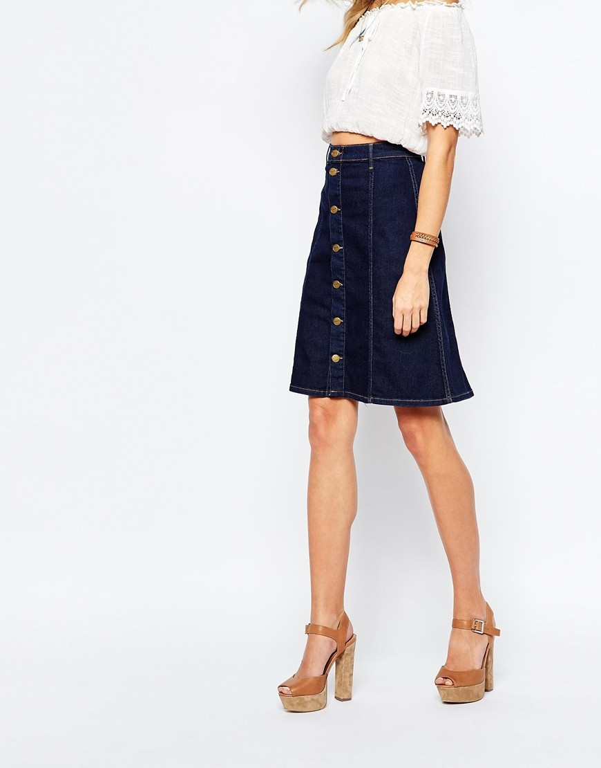 Denim A Line Knee Skirt Blue - pattern: plain; fit: loose/voluminous; waist: mid/regular rise; predominant colour: navy; occasions: casual; length: just above the knee; style: a-line; fibres: cotton - mix; waist detail: narrow waistband; texture group: denim; pattern type: fabric; season: a/w 2015